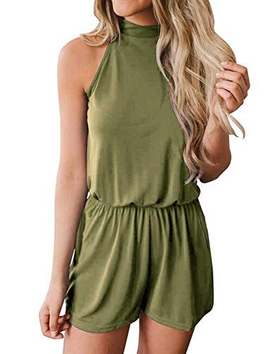Fadalo Women's Sleeveless Halter Neck Solid Color Elastic Waist Short Jumpsuit Romper with Pockets (X-Large, Army Green)