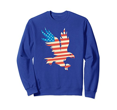 Unisex Patriotic Flying American Eagle USA Flag Long Sleeve Sweater Medium Royal Blue (Cotton Sweater American Eagle)