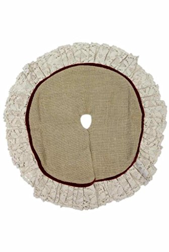 d Stevens Primitive Tan Burlap Christmas Tree Skirt w/Red Piping, 18