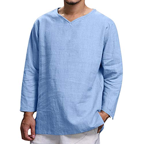 VOWUA Shirts for Mens Comfy Casual Pure Cotton and Hemp Tops Comfortable Blouse Top