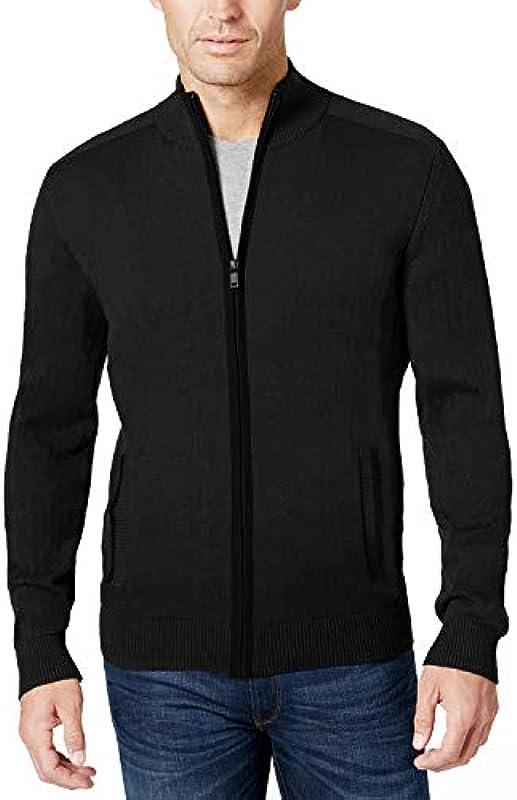 COOFANDY Męskie Pullover mit durchgehendem Reißverschluss, leicht, lässig, Slim Fit Cardigan mit Taschen: Odzież