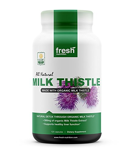 Milk Thistle - 120 Servings of 2000mg - All Natural - CCOF Organic - Vegan - NON GMO - Sylimarin Thisilyn Milk Thistle Seed Standardized Extract 4:1 Capsules - Best for Liver Cleanse - Made in the USA