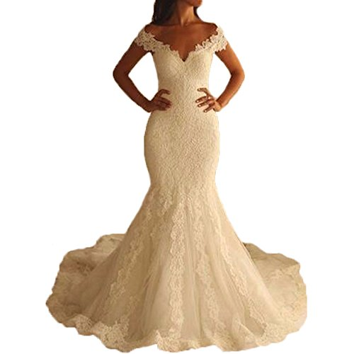 Yuxin Women's Cap Sleeves Long Lace Mermaid Wedding Dress V-Neck Bridal Gowns