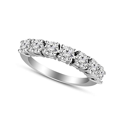 100% Pure Diamond Ring Diamond Wedding Band Rings 1-1/4 carat Lab Grown Diamond Rings for Women Lab Created Diamond Rings S-I Clarity 925 Sterling Silver Diamond Rings (G-H Color)