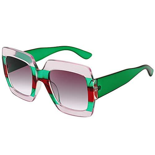 Square Frame Oversized Sunglasses for Women Brand Designer Shades Inspired (clear frame gradient gray lens)