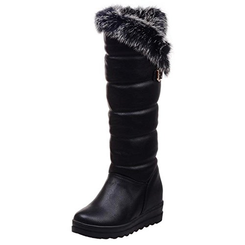 Snow Heel Fur Artificial Warm Black Lining Women Hidden Mid Waterproof Boots Winter Coolcept xqfBRAwY
