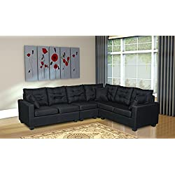 """Oliver Smith - Large Black Linen Cloth Modern Contemporary Upholstered Quality Sectional Left or Right Adjustable Sectional 103"""" x 81"""" x 35"""" s287black"""