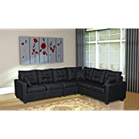 Oliver Smith - Large Black Linen Cloth Modern Contemporary Upholstered Quality Sectional Left or Right Adjustable Sectional 103 x 81 x 35 s287black