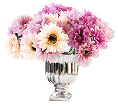 LNHOMY Daisy Artificial Flowers 14 Stems Silk Daisies Flower for Wedding Bouquet Living Room Office Party DIY Home Decoration, Champagne and -