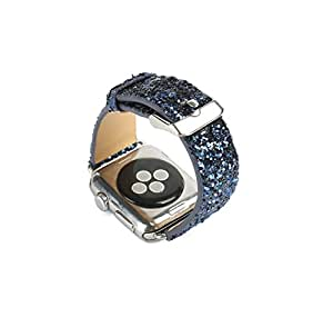 BouQue for Apple Watch Sparkle Band 38mm, and 42mm, Bling Glitter Soft Leather Replacement Wristband Strap for Apple iWatch Series 3, Series 2, Series 1 (Blackblue, 42mm)