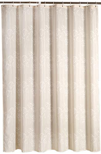 (Welwo Water-Repellent/Waterproof Fabric Shower Curtain/Liner Set - Mildew Free/Resistant, Antibacterial, Heavy-Duty - Beige, Extra Wide/Long Size 84 x 78)