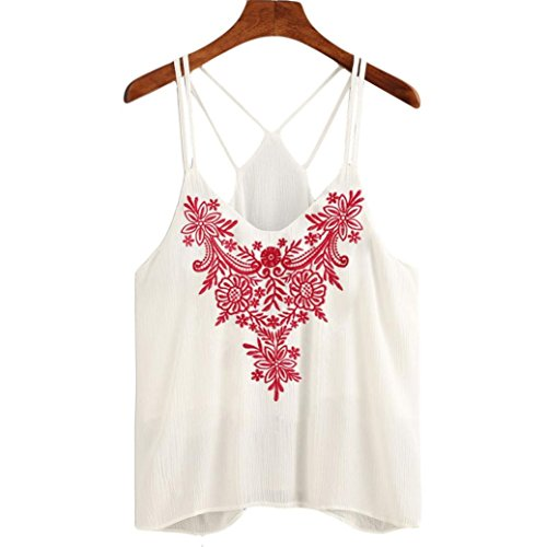 Blouse Top Imprimer Tefamore shirt T Femmes Fleur Strappy Débardeurs Cami ❤️Mode Blanc Tee Yxq8gaqw