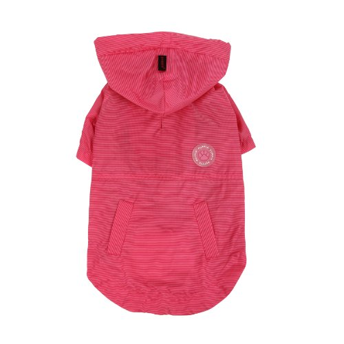 PUPPIA Authentic Windbreaker Pet Raincoat, Small, Hot (Puppia Polyester Raincoat)