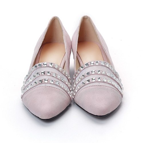 VogueZone009 Womens Closed Pointed Toe Low Heel Blend Materials PU Solid Pumps with Glass Diamond, Pink, 3 UK