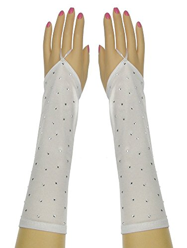 Bridal Shiny Stretch Satin Fingerless Rhinestone Gloves Below-The-Elbow Length 8BL Light White