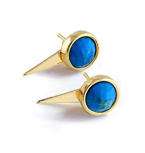 (FIRE EAR JACKET EARRINGS For Women | 24K Gold Round Turquoise Gemstone Earrings | 3-Way Convertible | Hypoallergenic | Double Sided | Birthday Wedding Summer Bridesmaid Jewelry gifts)