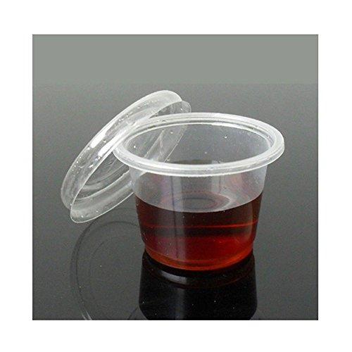 Plastic Disposable Jelly Shot Glass Cups with Lids Vodka Jelly Pots Leak Proof Lids.(200 Pcs)