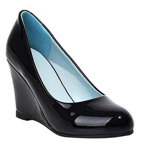 Fashion Heel Wedge Shoes Womens Patent Foot Pump Charm Black Leather High REOZCxA