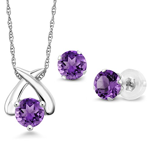 Amethyst Gold Jewelry Set - 1.35 Ct Round Purple Amethyst 10K White Gold Pendant Earrings Set With Chain