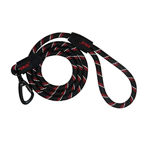KRUZ PET KZROPE5048-03S 4′ Reflective Rope Leash, Click and Lock Hook, Small