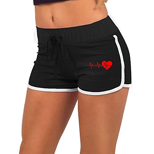 BBggyh Women's Low Waist Shorts Heartbeat Casual Sexy Yoga Beach Sports Shorts by BBggyh