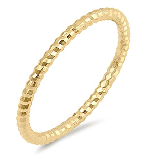 Beaded Gold Plated - Sterling Silver Yellow Gold Plated Thin Diamond Cut Stackable Ribbed Band Ring Size 10