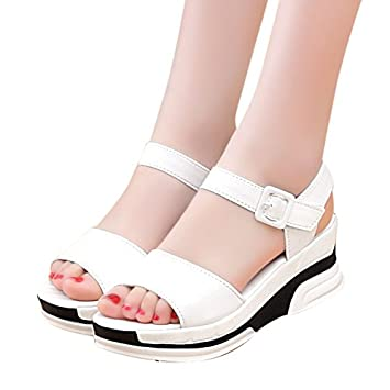 f076148131d Amazon.com  Women High Chunky Heel Roman Sandals Ladies Peep Toe ...