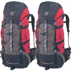 2 NEW RED COLORED KATHMANDU BACKPACKS, 2013 MODEL, RAIN FLY, FANNY PAK, HYDRO COMP., 6000 CU IN, Outdoor Stuffs