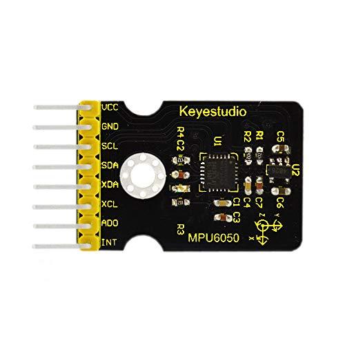 KEYESTUDIO MPU-6050 3 Axis MEMS Gyroscope Accelerometer DMP Sensor Module 16 Bit AD Converter Data Output IIC I2C for Arduino Raspberry Pi Micro:bit Micro Controllers Projects