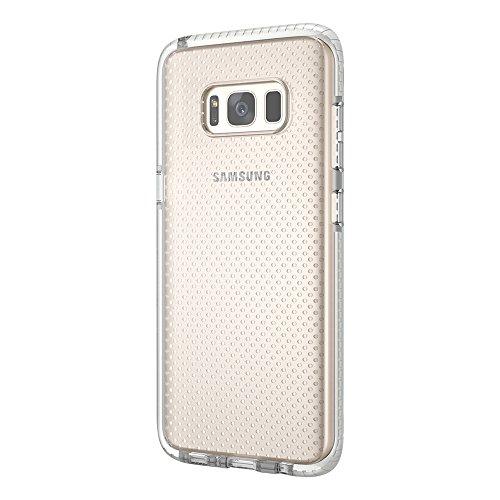 Grandcaser Funda para Samsung Galaxy S8,[Tough Armor] Slim Fit Flexible Goma Silicona TPU Gel Estuche Protectora de Claridad Diseño Lunares Textura Cover Duro Antideslizante Vistoso Parachoques - Tran Transparente Blanco