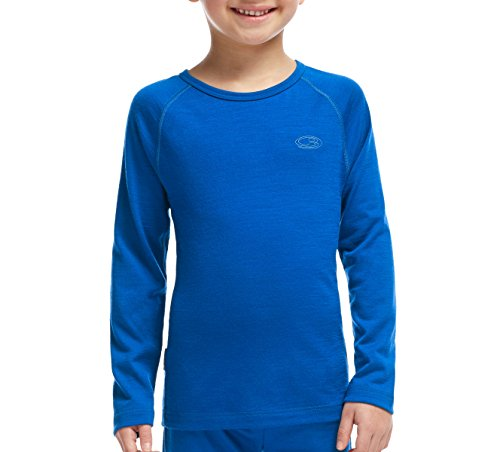 Icebreaker Kids Oasis Long Sleeve Crewe Top, Awesome/Awesome, 06