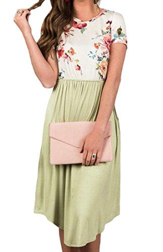 Dress Women's Classic Mini Sleeve Short 2 Neck Print Domple Round Pocktes Floral vpURBnB
