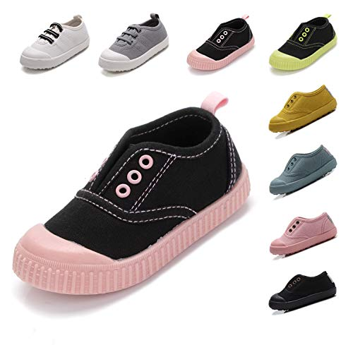 Kikiz Candy Color Kids Little Canvas Sneaker Boys Girls Casual Shoes Black Pink 12 M US Little ()