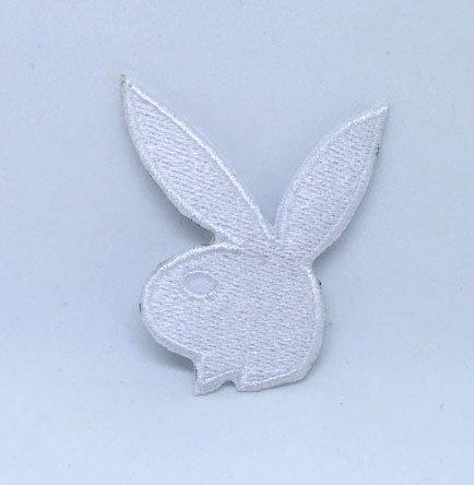 Playboy Bunny Rabbit - Playboy Bunny Rabbit Colourful Iron on Sew on Embroidered Patch - White