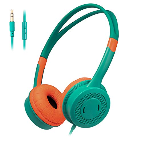 HUOTO Kids Headphones,Wired Headphone Children Girls Boys Foldable Adjustable Stereo,3.5MM Jack On-Ear Headphone Earphones Headset for iPad Cellphones Computer MP3/4 Kindle Tablet with Mic (Green)