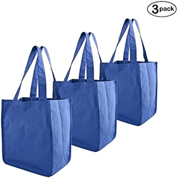Simple Ecology Organic Cotton Deluxe Reusable Grocery Bag with Bottle Sleeves - Blue (3 Pack)