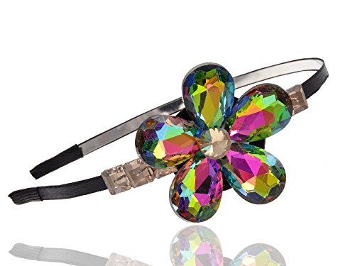 Costume Jewelry 1970's (Alilang AB Rainbow Crystal Bead Daisy Flower Girl Power Groovy 1970s Hair Piece)