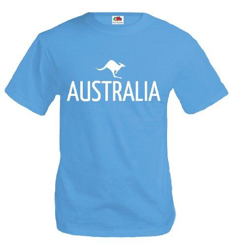 T-Shirt Australia-Kangaroo-XL-Skyblue-White