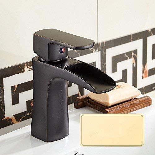 SYF-SYF 洗面所真鍮アンティーク温水と冷水黒の洗面化粧台のシンクの蛇口のための洗面シンクミキサータップ 蛇口