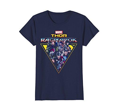 Womens Marvel Thor Ragnarok Heroes Villains Triangle T-Shirt Medium Navy -