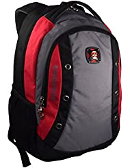 SwissGear 16 Padded Laptop Backpack/School Travel Bag (Black-Red-Grey)