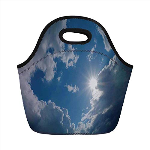 Portable Bento Lunch Bag,Sky Decor,Clear Weather Sky Sun On Sky With Clouds Solar of Clean Energy Power Artwork,Gray Blue,for Kids Adult Thermal Insulated Tote Bags