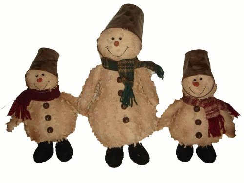 Papier Mache Bell (Craft Outlet Chenille Snowman with Tin Pail Hat Figurine, 14-Inch)