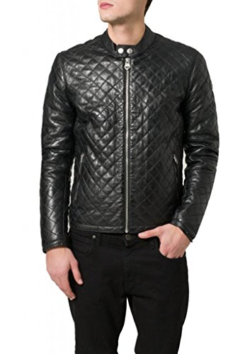 Negro Junction Hombre Leather Chaqueta Para wpvYfBqx