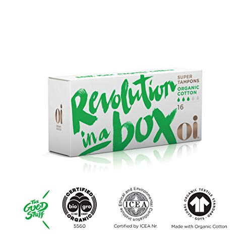 Oi Certified Organic Cotton Tampons | Box of 16 Super Tampons | Non-Applicator