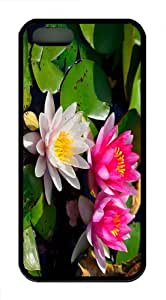 make case pink lilies TPU Black Case for iphon 5/5S