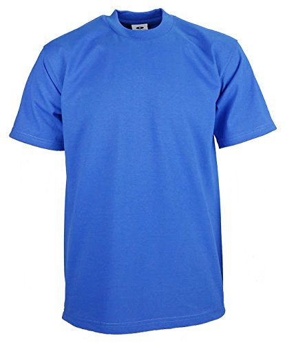 Tee Cotton Heavyweight 100% (Men's proclub Heavy Weight solid crewneck short sleeve shirts Royal XL)