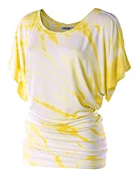 LL Womens Short Sleeve Oversized Ombre Tie-Dye Tee Shirt