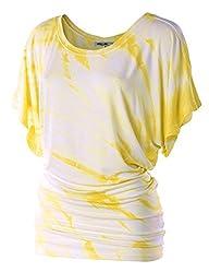LL Womens Short Sleeve Oversized Ombre Tie-Dye Tee Shirt