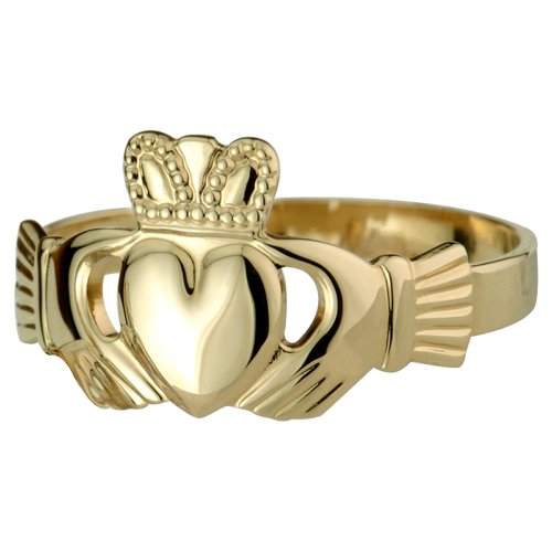 Mens Claddagh Ring 14k Gold Puffed Heart Thick Sz 13.5